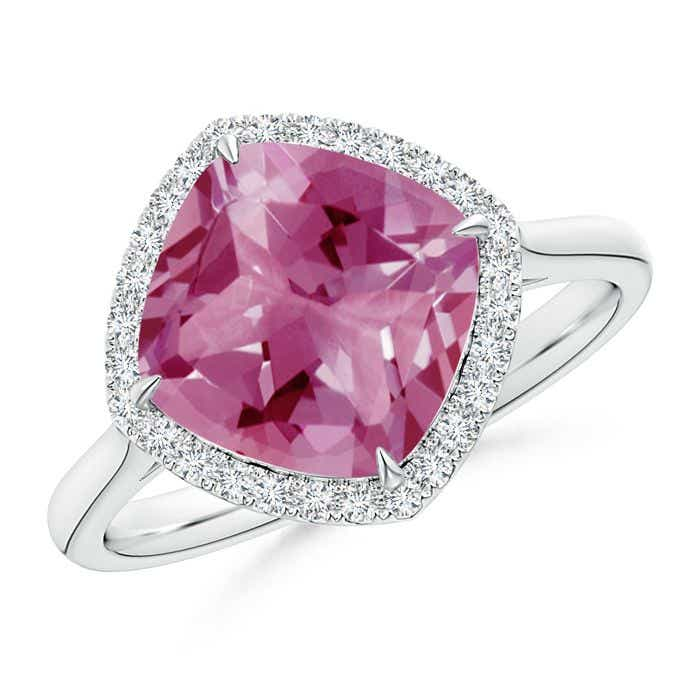 Angara Pink Tourmaline Ring with Diamond Halo in Yellow Gold UblNOi8G8