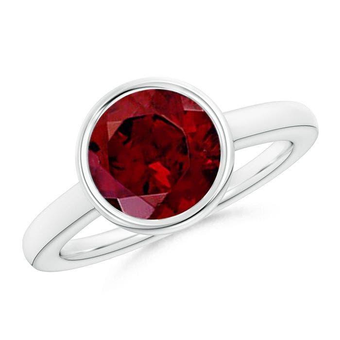 Angara Round Garnet and Diamond Halo Engagement Ring mqTaV0Aj9