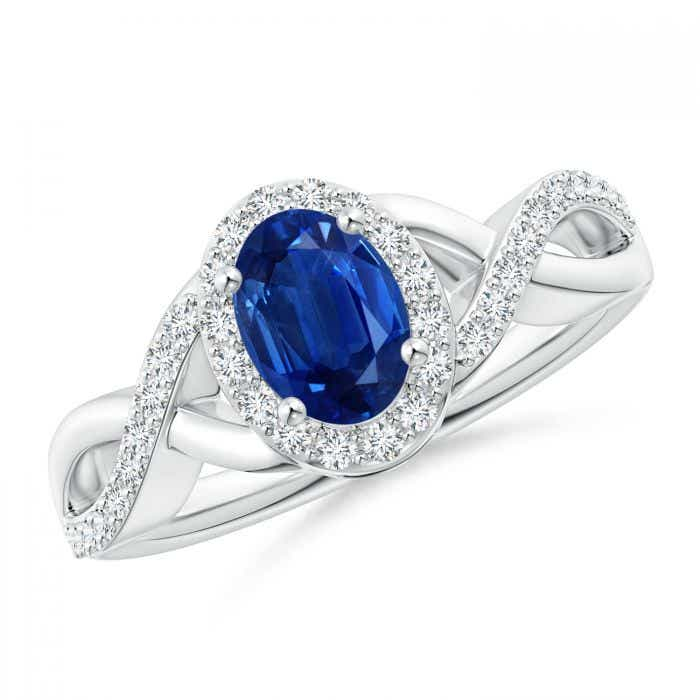 Angara Oval Blue Sapphire Crossover Ring in Yellow Gold cGGiZ