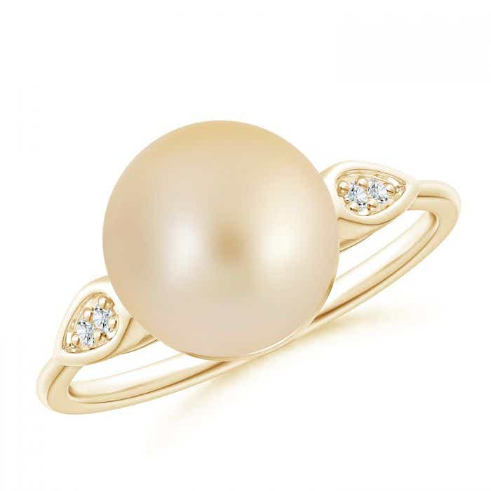 Angara South Sea Cultured Pearl Ring with Diamond Pear Motifs l6QyfzHvH
