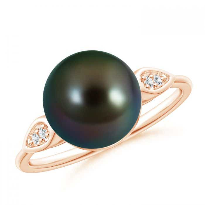 Angara Freshwater Cultured Pearl Ring with Diamond Pear Motifs Yo0tSKGL94