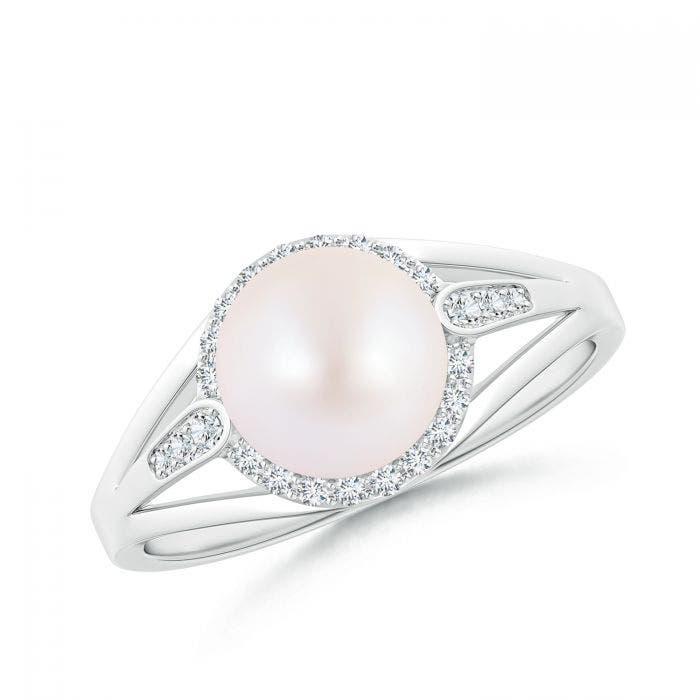 Angara Akoya Cultured Pearl Halo Ring with Diamonds euxmGf