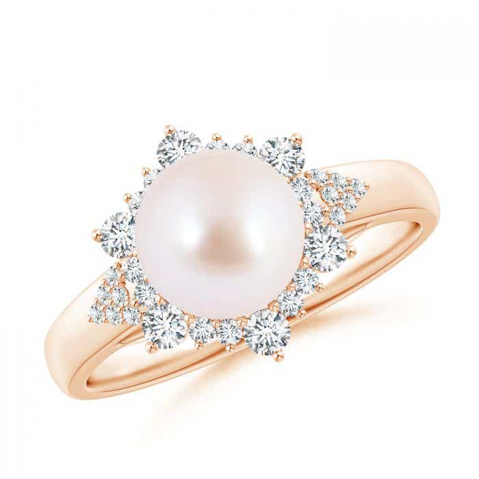 Angara Akoya Cultured Pearl Floral Ring with Diamonds 7ZOE9
