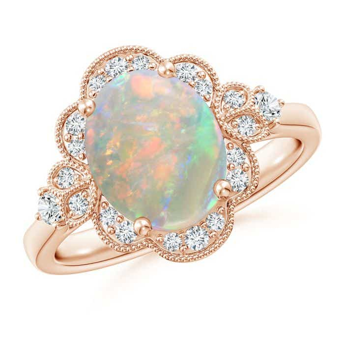 Victorian Style Oval Opal And Diamond Halo Engagement Ring Angara