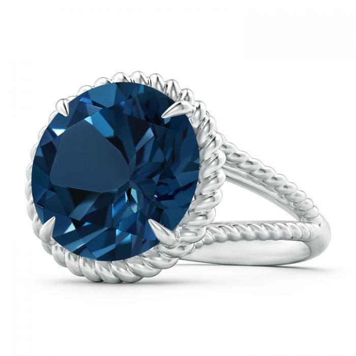Angara Claw-Set London Blue Topaz Twisted Rope Split Shank Ring Itcf4JC