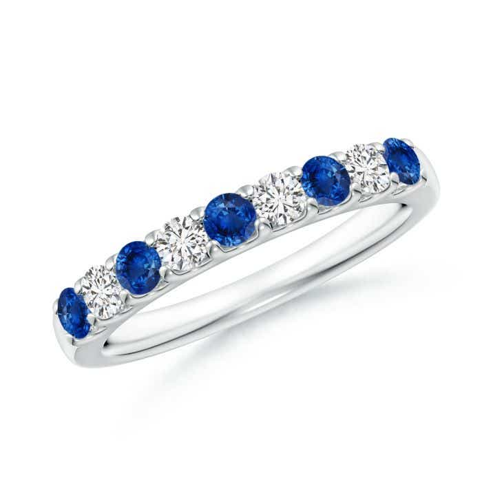 Angara Womens Sapphire and Diamond Half Eternity Band in 14k Yellow Gold eg8xr