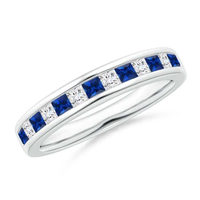Angara Square Sapphire Diamond Half Eternity Band in Yellow Gold gwfbn7cn