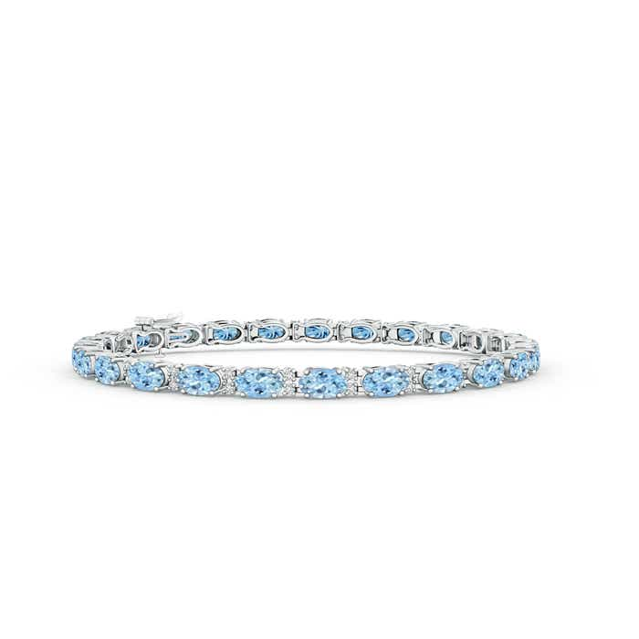 Angara Curb Chain Link Aquamarine Bracelet in Rose Gold 06sFhPN