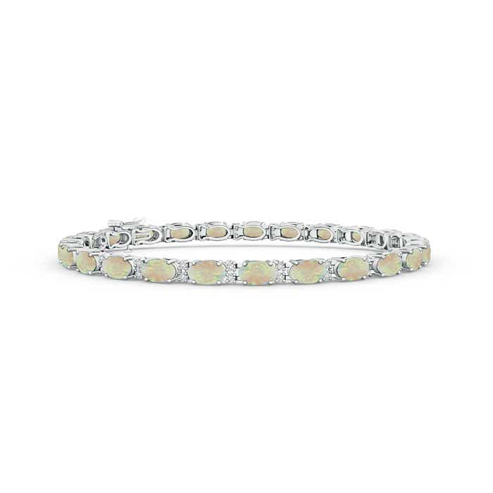 Angara Oval Opal and Diamond Bracelet in Yellow Gold 87qwpk