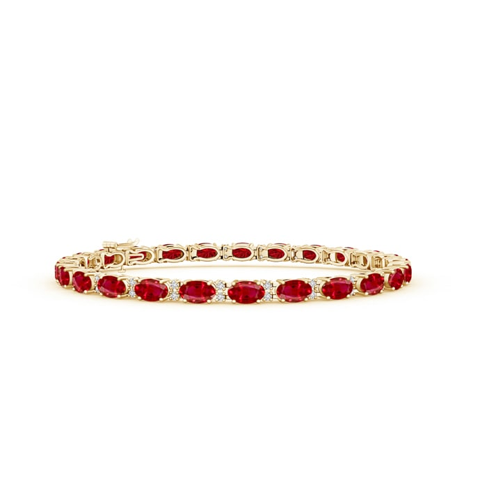 Angara Ruby Scooped Link Tennis Bracelet in 14k Yellow Gold