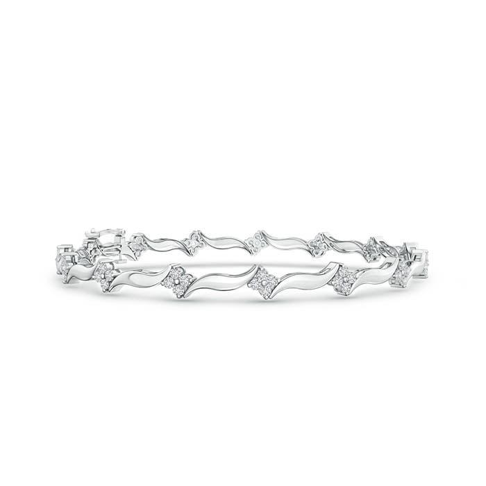 Angara Wavy Hood Link Diamond Cluster Bracelet in Yellow Gold v0SM3kVu