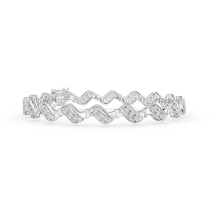Angara San Marco Link Diamond Wave Bracelet in White Gold qs563fk