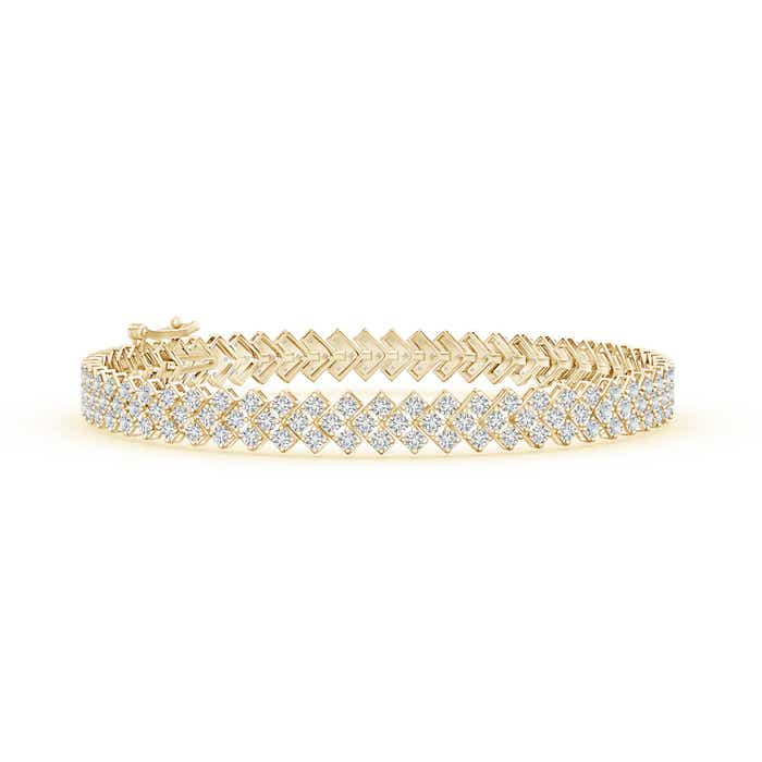 Angara Encrusted Diamond Chevron Bracelet in Yellow Gold MYxJsUfw