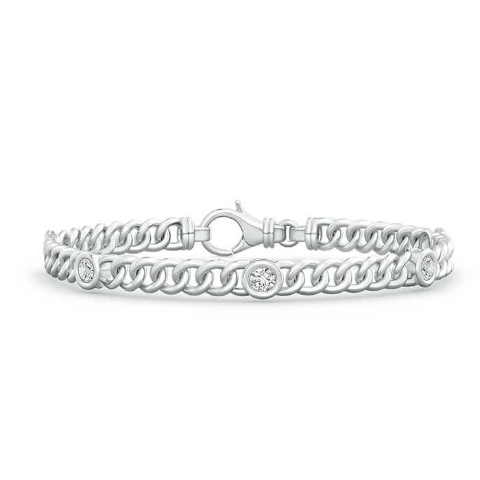 Angara Diamond Curb Chain Link Bracelet in White Gold