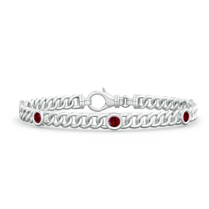 Angara Curb Chain Link Diamond Bracelet in White Gold