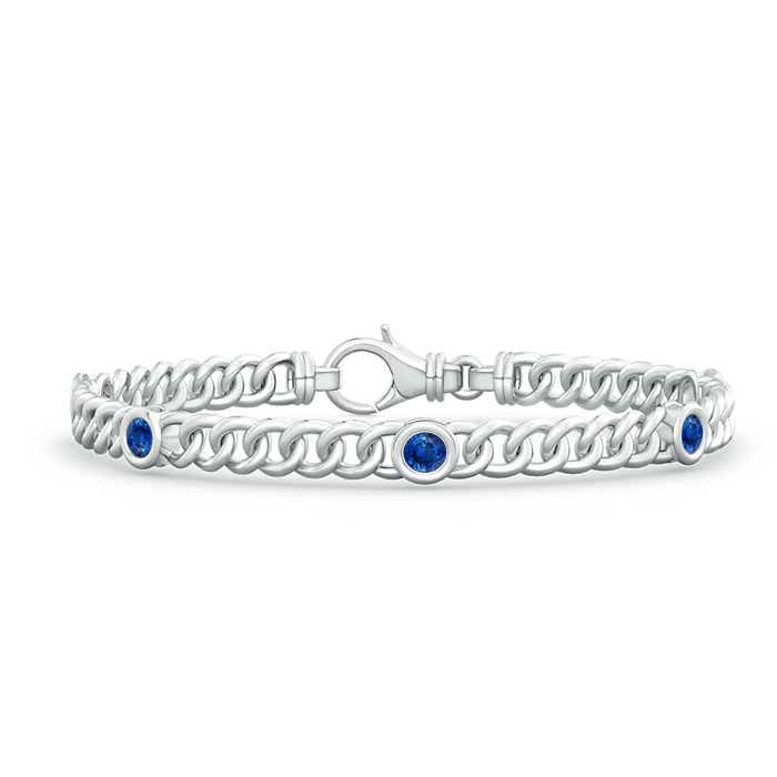 Angara Curb Chain Link Blue Sapphire Bracelet in White Gold