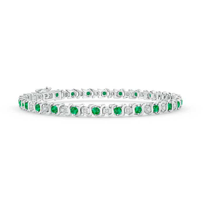 Angara Emerald Scooped Link Tennis Bracelet in 14k Yellow Gold