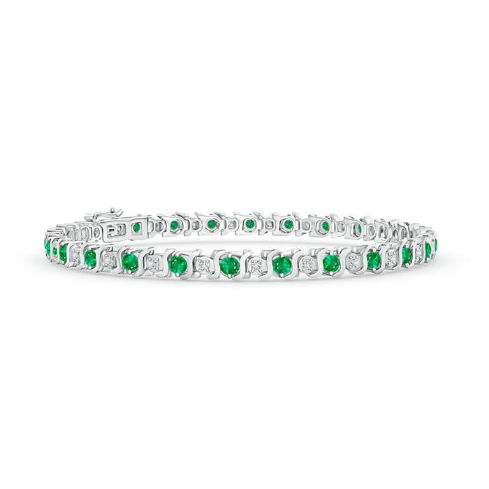 Angara Oval Emerald and Diamond Tennis Bracelet in Rose Gold Cy5XLVdtU