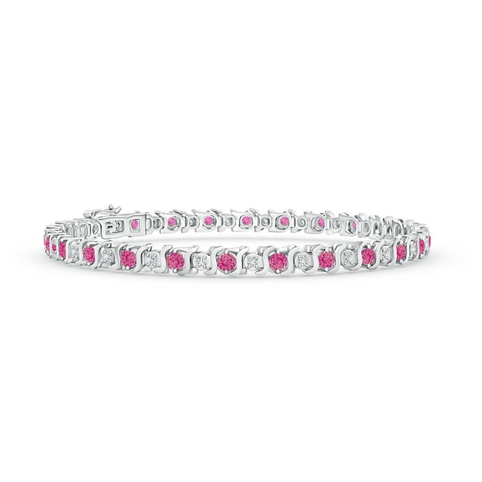 Angara Curb Chain Link Pink Sapphire Bracelet in White Gold rIjgKZ25