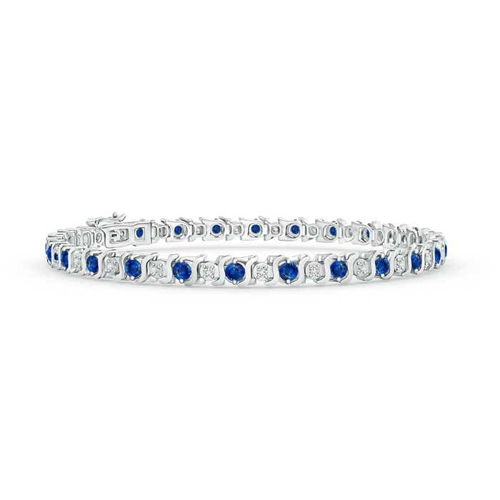 Angara Blue Sapphire Diamond Tennis Bracelet in 14k Rose Gold