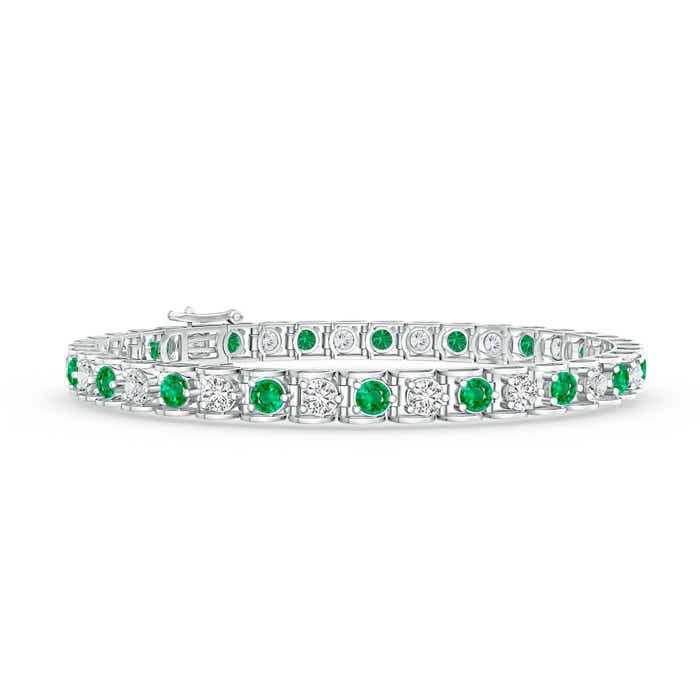 Angara Oval Emerald and Diamond Tennis Bracelet in Rose Gold