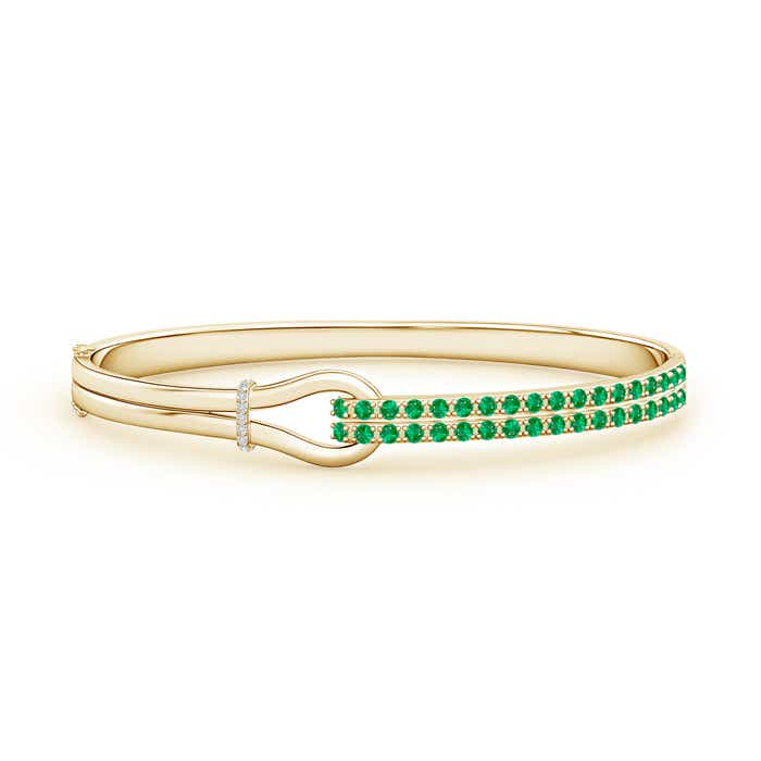 Angara Emerald Encrusted Loop Ring in 14k Yellow Gold mC8ZVR