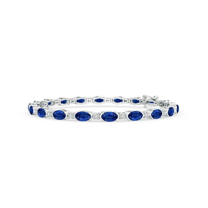 Angara Oval Sapphire and Diamond Tennis Bracelet in White Gold
