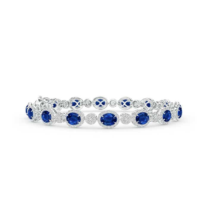 Angara Semi Bezel Emerald Tennis Bracelet in White Gold IpmsDHptT