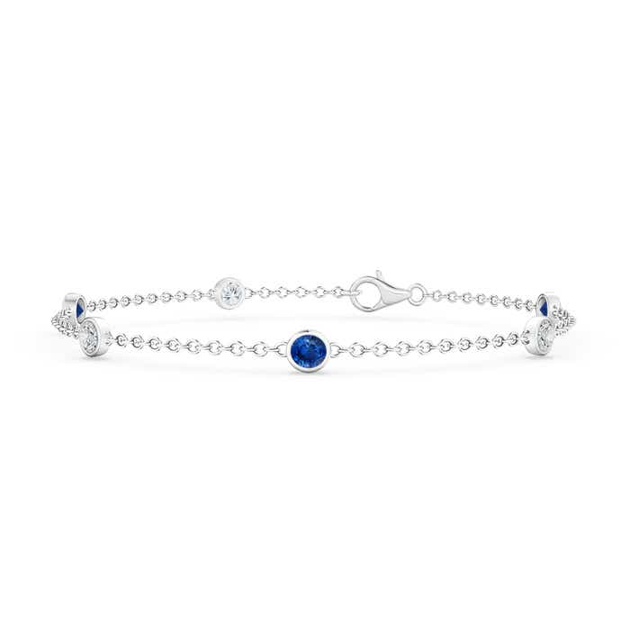 Angara Bezel-Set Sapphire and Diamond Station Bracelet with Chain zWXurKa