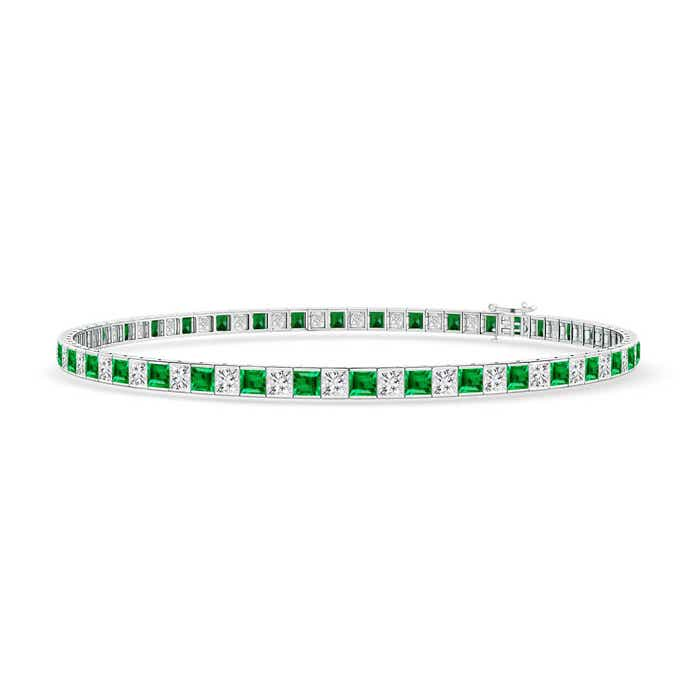 Angara Square Diamond and Emerald Tennis Bracelet in Yellow Gold