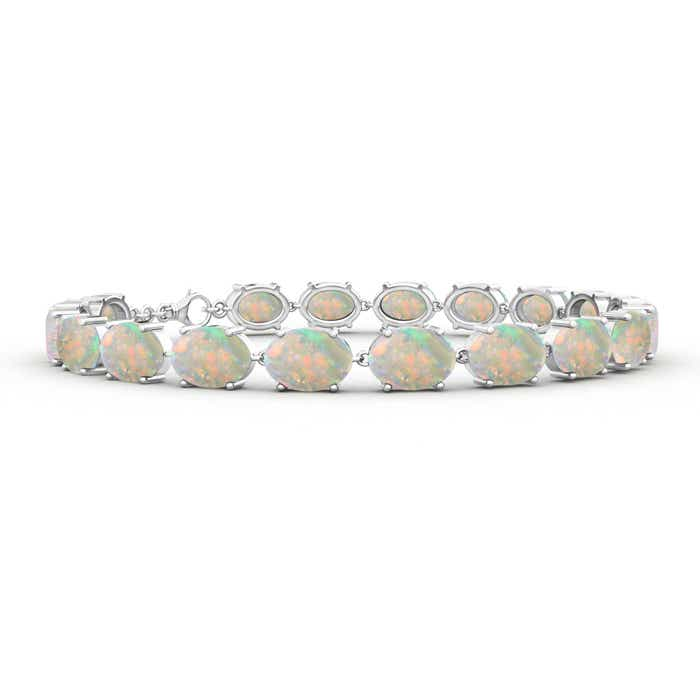 Angara Oval Opal and Diamond Bracelet in White Gold Ztvvo