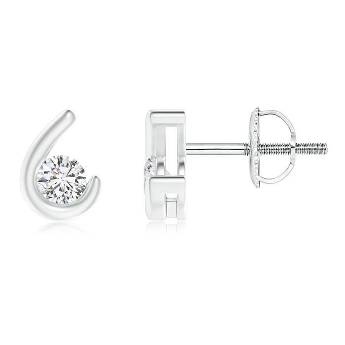 Angara Bezel Set Diamond Martini Stud Earrings in Rose Gold AgX336W
