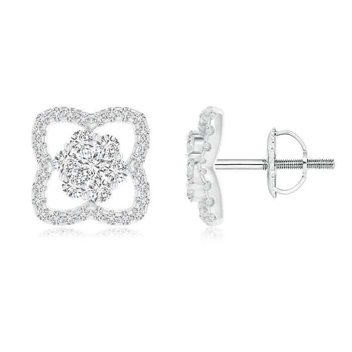 Angara Pressure-Set Round Diamond Square Cluster Stud Earrings