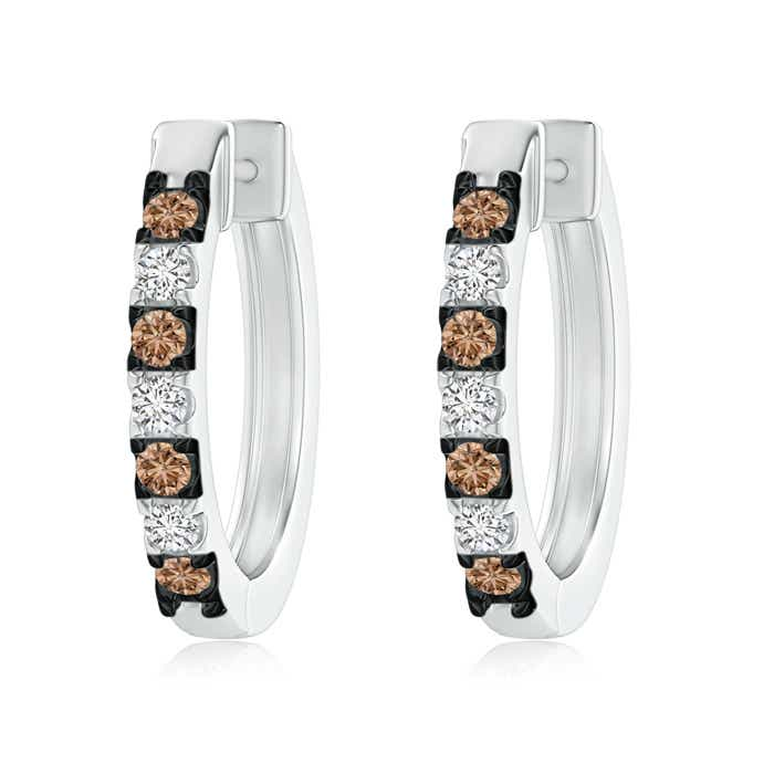 Angara Pave Set Brown Diamond Hoop Earrings with Milgrain