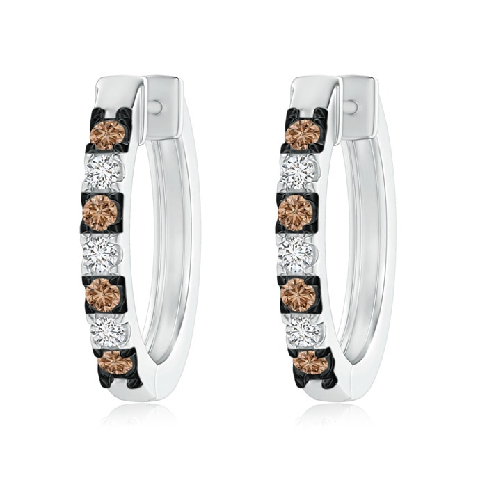 Angara Brown and White Diamond Hoop Earrings in Platinum ZVdBXBD7