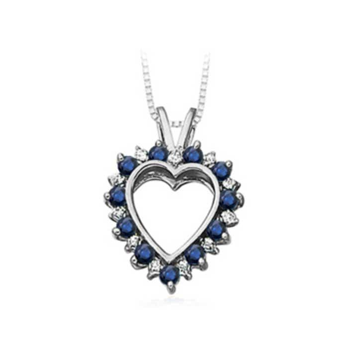 Sapphire and diamond heart pendant in white gold angara 18 inches 10k white gold chain comes free with pendant aloadofball Image collections