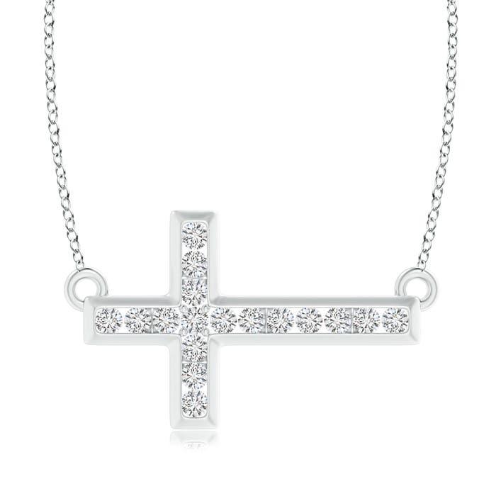 Angara Diamond Sideways Cross Necklace hQuDV