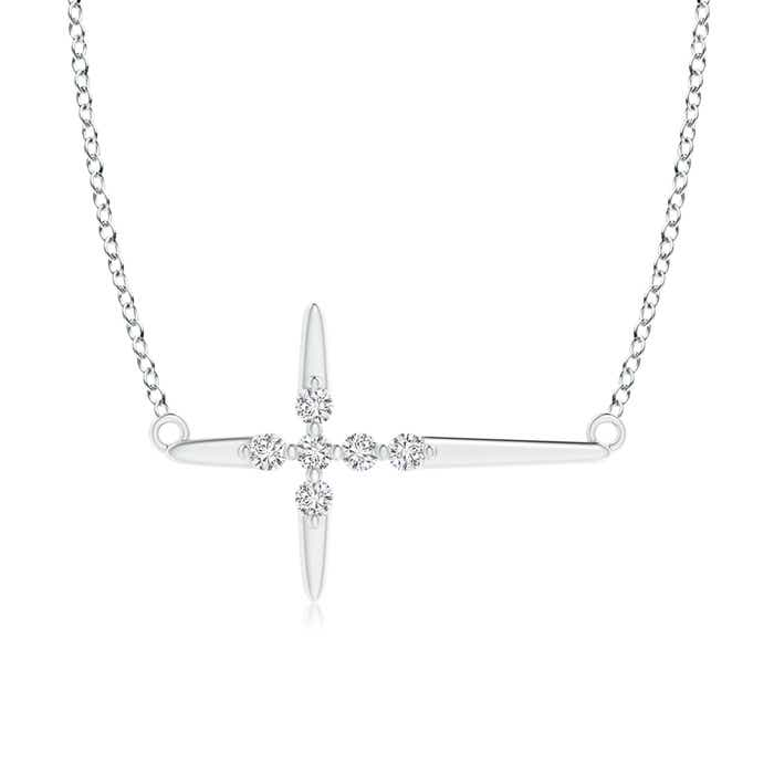 Angara Grooved Five Stone Diamond Bypass Cross Pendant