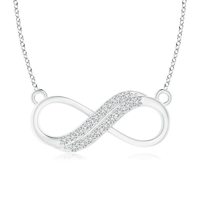 Angara Twin-Row Diamond Sideways Infinity Swirl Necklace V9U1nU