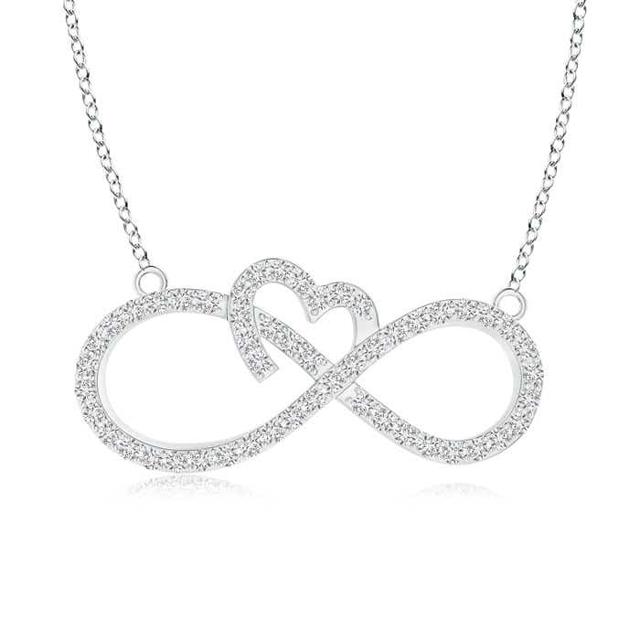Angara Sideways Infinity Necklace with Gypsy Diamond EKUkl