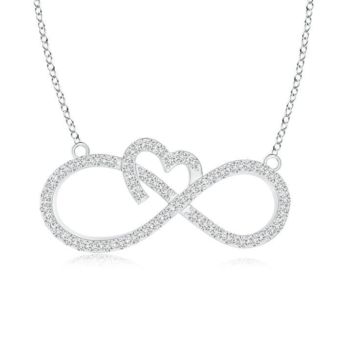 Angara Twin-Row Diamond Sideways Infinity Swirl Necklace kqQ3LT5Y