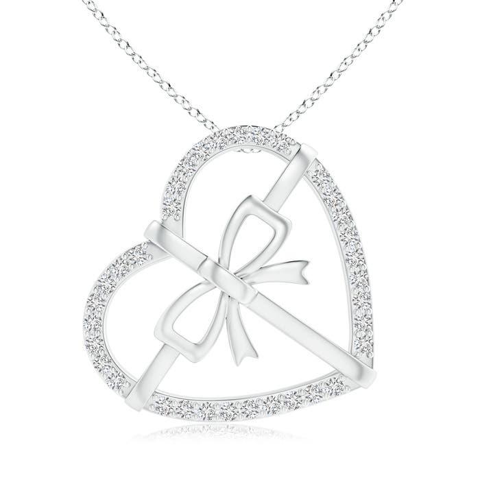 Angara Diamond Bow Knot Necklace nDrMCv0DFQ