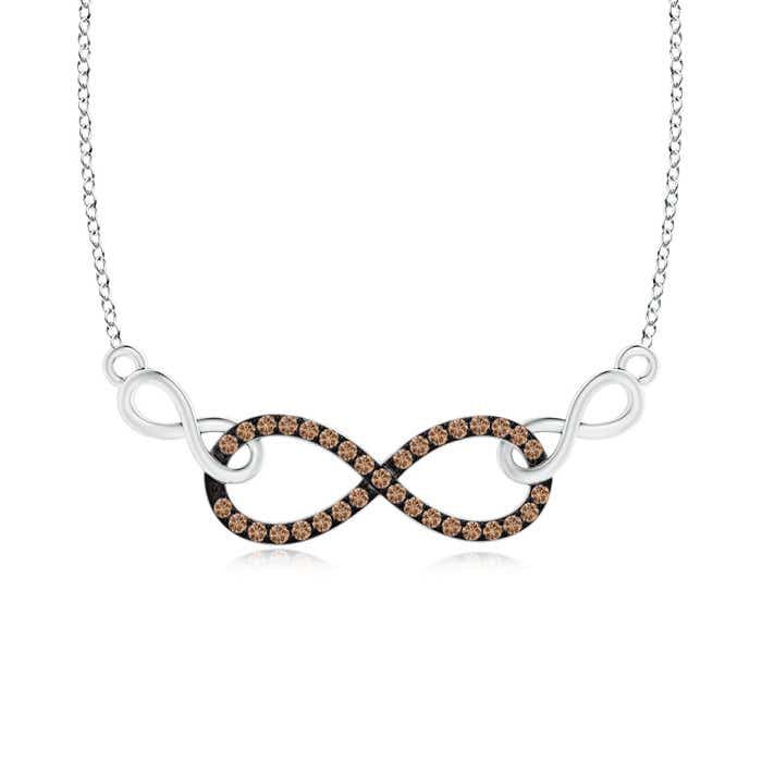 Angara Twin-Row Coffee and White Diamond Infinity Swirl Necklace VnBfC