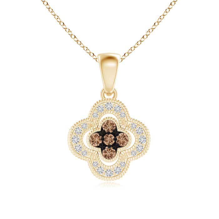 Angara Brown and White Diamond Octagon Halo Pendant G2WtPeZN