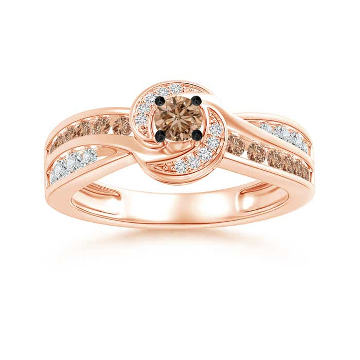 Angara Brown Diamond Double Halo Ring in Yellow Gold G7yMA