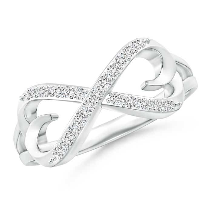 Angara Round Diamond Infinity Knot Ring in White Gold