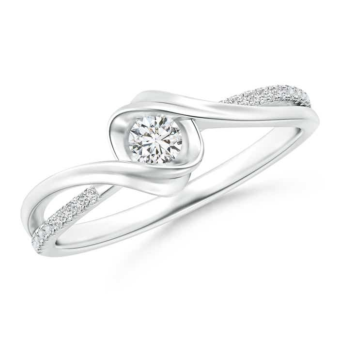 Angara Round Diamond Bypass Ring in Platinum nEyVk