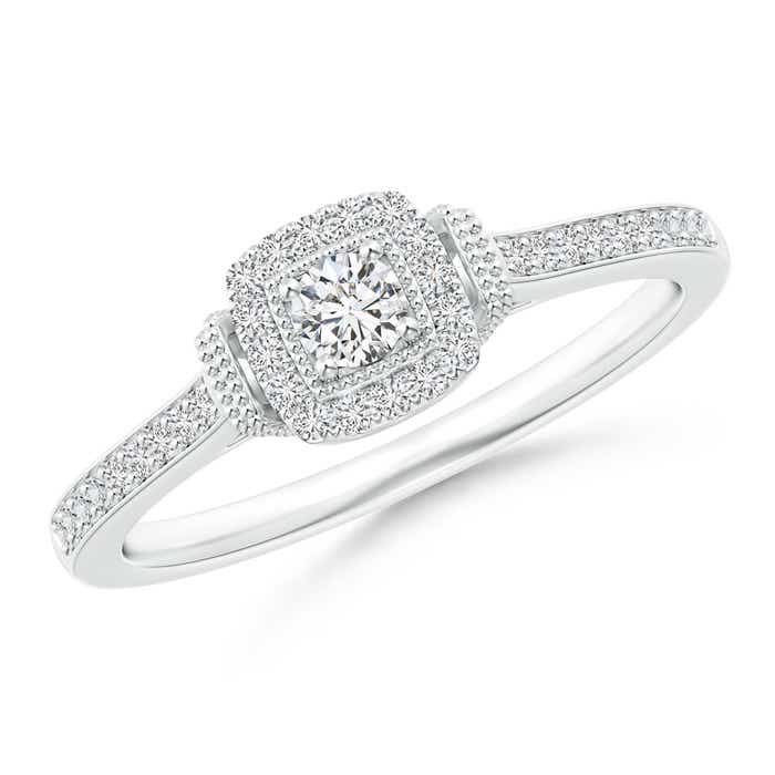 Angara Milgrain Outlined Diamond Square Halo Engagement Ring L5Gpm3