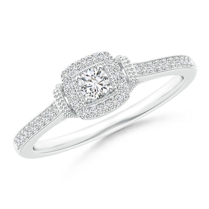 Angara Cushion Halo Diamond Milgrain Collar Ring 9oiVMunZV