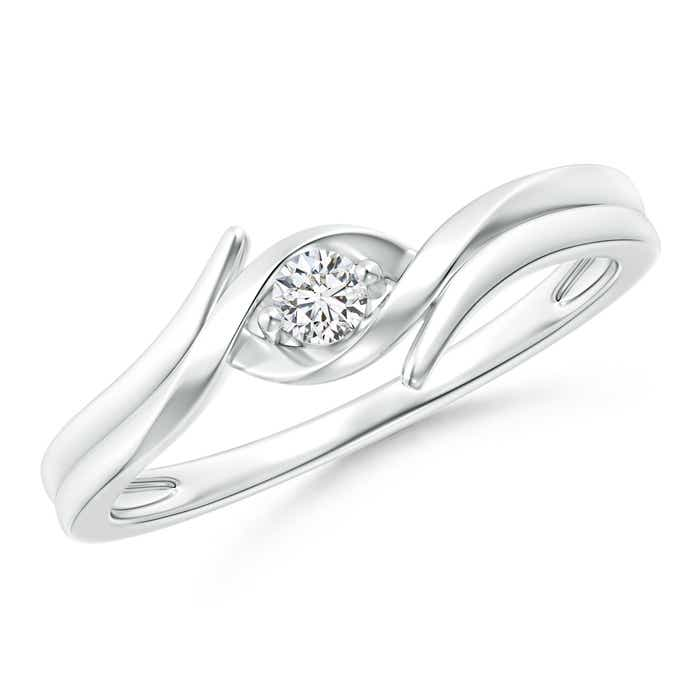 Angara Solitaire Round Diamond Fluted Bypass Ring Fp9KN